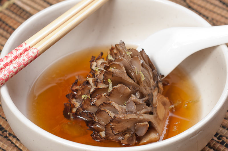 Roasted Maitake In Smoky Tea Broth - Healthy Mushroom Tea recipe / How To Prepare Mushroom Tea?