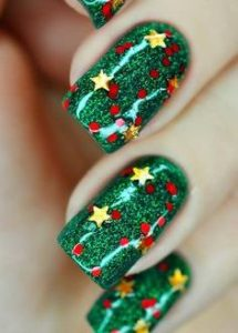Good Old Green and Red Nail Art