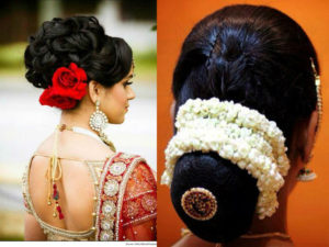 bridal hair bun with flowers 300x225 - Most beautiful South Indian wedding hairstyles for Long Hair