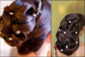simple updo 300x200 - Most beautiful South Indian wedding hairstyles for Long Hair