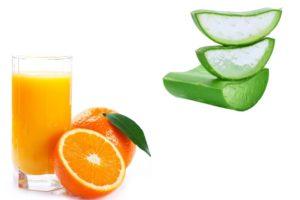 Orange Juice and Aloe vera pulp help to get radiant skin