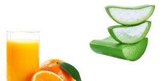 Orange Juice and Aloe vera pulp help to get radiant skin