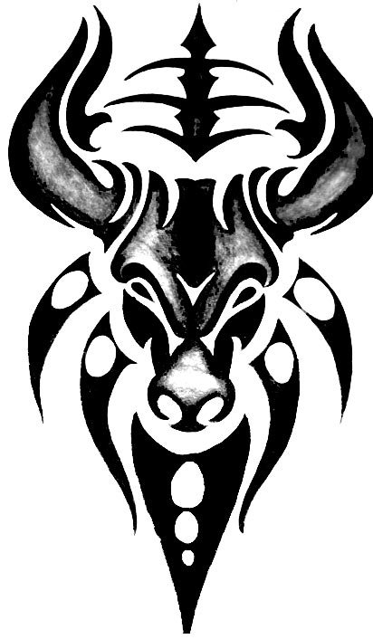 tribal bull design - Tattoos for Taurus and Aquarius zodiac signs
