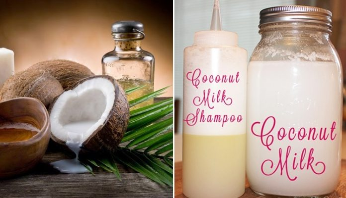 DIY Homemade Coconut Milk Shampoo For Shinny Hair