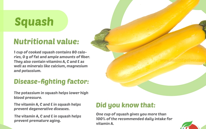 vegetables infographic Squash - Amazing Health Benefits Of Squash