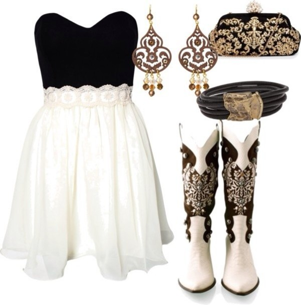 Strapless Lace Dress and Cowboy Boots - Try Cute Dresses to Wear With Cowboy Boots
