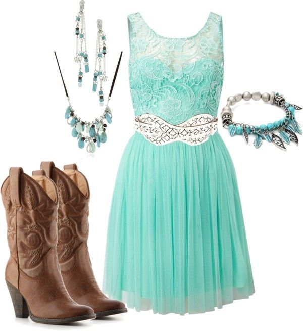 Turquoise Outfit and Cowboy Boots - Try Cute Dresses to Wear With Cowboy Boots