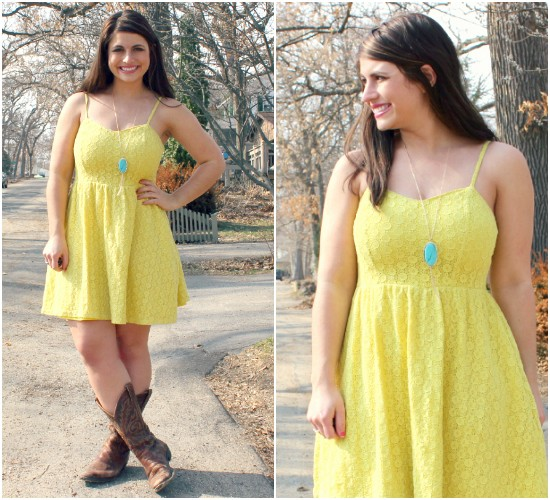 Yellow Dress and Cowboy Boots - Try Cute Dresses to Wear With Cowboy Boots