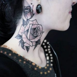 Abstract Rose Tattoo On Side Neck 298x300 - 10 neck tattoos for women