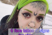 6 face tattoo designs for girls